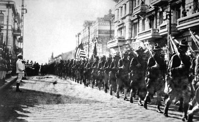 U.S. troops in Vladisvostok, 1918. They did not succeed in crushing the Bolshevik Revolution.