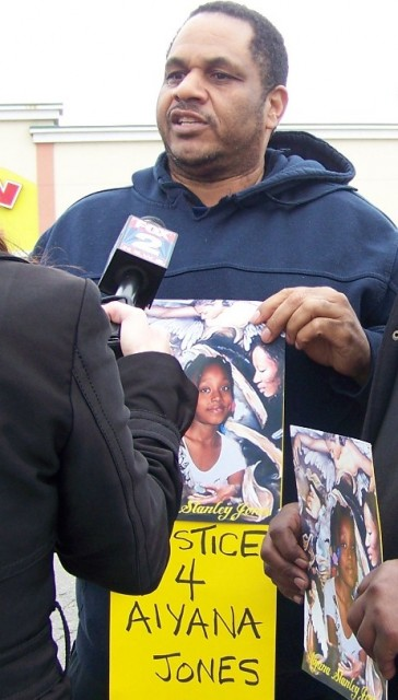 Cornell Squires speaking at press conference on anniversary of murder of Aiyana Stanley-Jones, 7, by Detroit police.