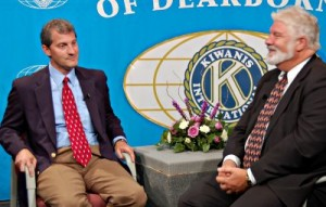 Judge Brian Zahra, a member of the Dearborn Hts. Kiwanis, as well as the Federalists, speaks to Kiwanitalk host Gary Gar
