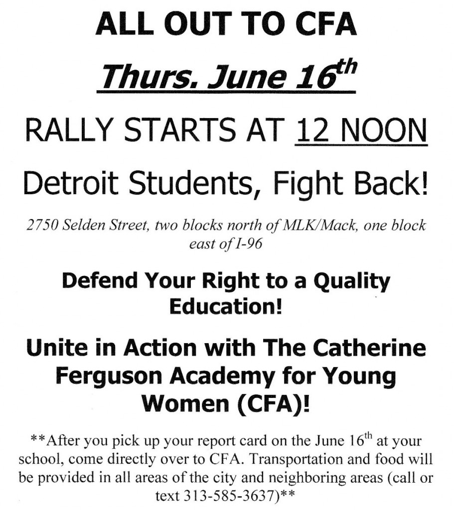 catherine ferguson academy cfa is a detroit public school cfa is a jewel of detroit and it is about to be stolen from our community we must defend it