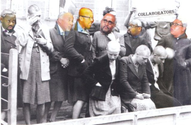 Council members (l to r) Andre Spivey, Gary Brown, Charles Pugh, Kenneth Cockrel, Jr., James Tate and Saunteel Jenkins collaborated with Gov. Rick Snyder's fascist regime. After World War II, French people who collaborated with the Nazis were paraded with their heads shaven through the streets, as shown in this actual (but doctored) photo.