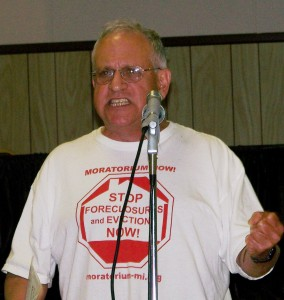 Jerry Goldberg of Moratorium Now Coalition speaks against banks at Detroit Financial Review Team meeting March2 26, 2012 Photo by Diane Bukowski