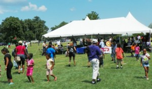 Kids do the hustle at SEIU union party on Belle Isle July, 2012.