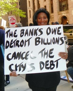 Linda Willis participates in downtown Detroit protest May 9, 2012 demanding payback from the banks.