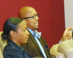 Pugh cuts speaker off during public comment at meeting July 16, 2012.
