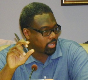 Council member James Tate at Council hearing Aug. 7, 2012 after PA 4 was placed on ballot.