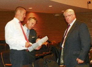 Atty. Michael McGee of Miller Canfield (center) plots out details of CET, imposed city contract, with (l) now disappeared COO Chris Brown and (r) PMD Kriss Andrews, before June 28, 2012 Financial Advisory Board meeting.
