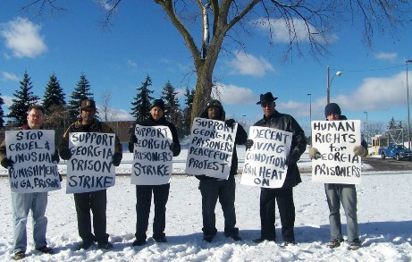 Detroiters support massive Goergia prison strike in Dec. 2010, standing outside Detroit's Mound Road prison. Gov. Snyder has since closed the prison, which housed many from Detroit. They have been transferred all over the state, away from family and friends.