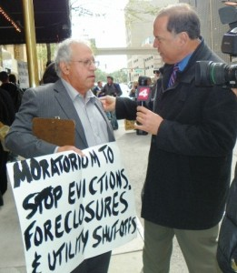 Jerry Goldberg of Moratorium NOW! coaition speaks to media at banks protest May 9, 2012.