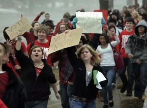 Students walked out of school in Wisconsin to protest union-busting and cutbacks during historic state uprising in 2010.