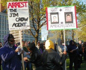 Protesters in downtown Detroit May 26, 2012.