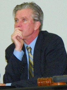 State Treasurer Andy Dillon looking frazzled at previous Financial Review Team meeting in March, 2012, during which the public shouted down its members. FRT meetings are now closed to the public.