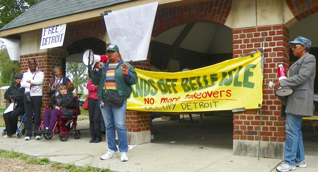 Phyllis McMillon, President of AFSCME Local 542, speaks at rally to save Belle Isle Sept. 22, 2012.