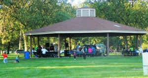Family enjpys one of many newly renovated Belle isle picnic shelters Sept. 14, 2012.
