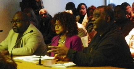 Al Garrett, Pres. AFSCME Co. 25, testifies against Consent Agreement April 2, 2012, saying unions already presented package to save Detroit money. To his right are Co. 25 rep. Mel Brabson and APTE Pres. Dempsey Addison.
