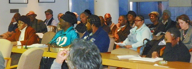 "Some of dozens who testified about Belle Isle ""lease"" at Council Jan. 28, 2013. They included (l) Cecily McClellan of Free Detroit, No Consent and (far r in audience), Roberta Henrion, last president of Friends of Belle Isle, who like McClellan strongly opposed the lease."