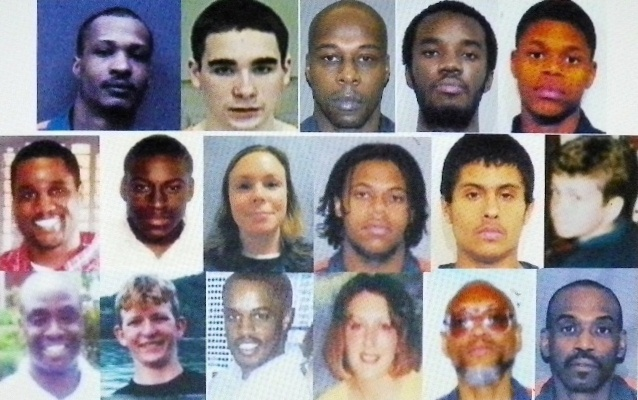 Some of Michigan's 371 juvenile lifers involved in current litigation: (l to r, top through bottom row), Cortez Davis and Raymond Carp, awaiting re-sentencing under USSC decision; plaintiffs in USDC case Henry Hill, Keith Maxey, Dontez Tillman, Jemal Tipton, Henry Hill, Nicole Dupure, Giovanni Casper, Jean Cintron, Matthew Bentley, Bosie Smith, Kevin Boyd, Damion Todd, and Jennifer Pruitt; Edward Sanders and David Walton, in prison since 1975 at the age of 17; (photos show some lifers at current age, others at age they went to prison).