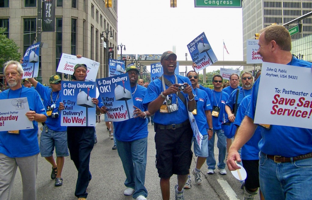 Postal workers protest in Detroit two years ago.