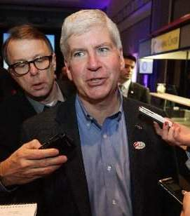 Snyder reacts angrily after voters repeal PA 4 last November, 2012.