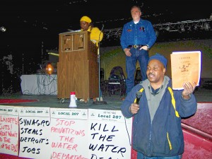 Andrew Daniels-El demands city officials comply with City Charter during rally Jan. 28, 2009.