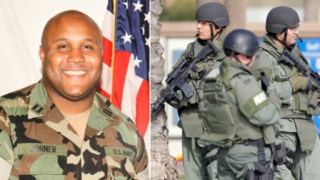 Former LAPD officer Christopher Dorner is shown with photo of police hunting him before he died.
