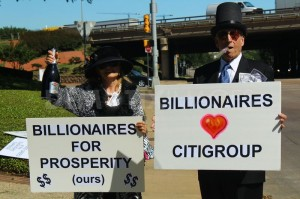 Protesters at Citigroup shareholder meeting in Dallas, Texas