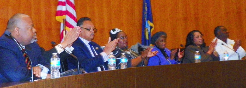 Detroit, regional and national leaders (l to r) Attorney Herb Sanders, U.S. Cong. John Conyers, Detroit Councilwoman JoAnn Watson, Wayne Co. COmmissioner Martha Scott, AFSCME Council 25 Pres. Al Garrett March 22, 2013