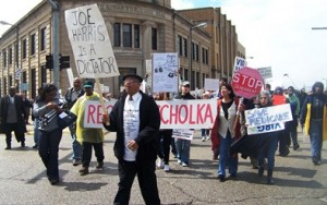 Rev. Edward Pinkney leads first march against PA 4 state takeover of Benton Harbor in 2011.