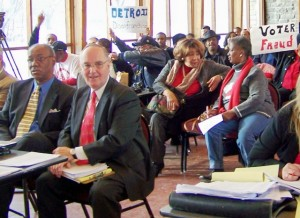 Tom Barrow (l) and supporters at Board of Canvassers recount hearing, Dec. 23, 2010.
