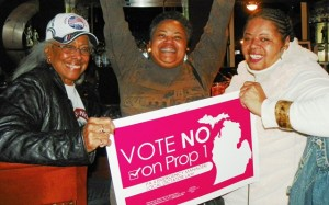 Chris Griffiths, Monica Patrick, Sandra Hines of Free Detroit No Consent after repeal of PA 4.