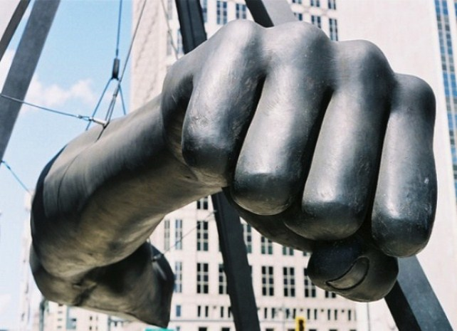 Sculpture of famed boxer and national Black hero Joe Louis' fist in downtown Detroit. Tom Barrow is a descendant of Joe Louise. Blacks across the country celebrated in the streets when he won the world heavyweight title.