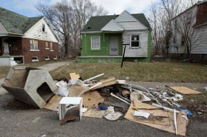 Typical scene in Detroit neighborhoods as a result of banks' criminal practices.