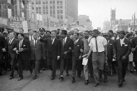 "Dr. Martin Luther King leads freedom march in Detroit, 1963. It was the first time he gave his ""I Have a Dream"" speech."