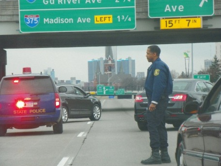State cops pull cars protesting EFM over near downtown March 7, 2013.
