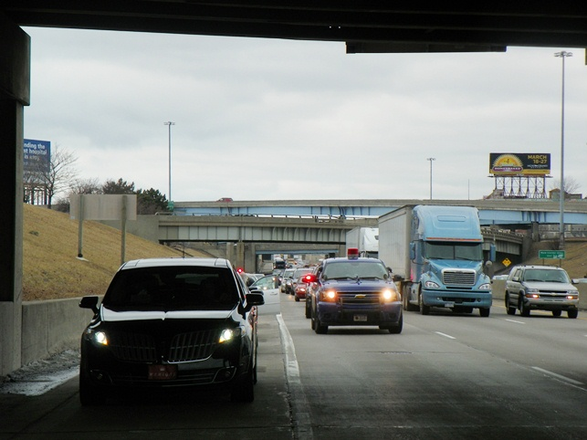 On March 7, dozens of Detroiters conducted a blockade of southbound !-75 beginning at Eight Mile. Here they are stopped by state troopers close to downtown, pulled over and ticketed, but their point was made. SAY NO TO AN EFM! INTERRUPT COMMERCE!