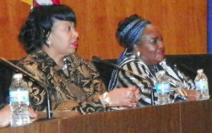 Councilwomen Brenda Jones and JoAnn Watson at NO EFM rally March 6, 2013, Councilman Kwame Kenyatta was ill.