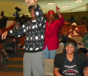 Tyrone Travis and former School Board member Marie Thornton at rally against EFM March 6 2013.
