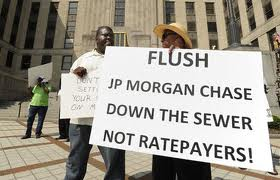 Protest against banks' role in raising sewer rates in Jefferson County, Alabama.