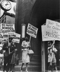 Protesters during Jim Crow era in the South.