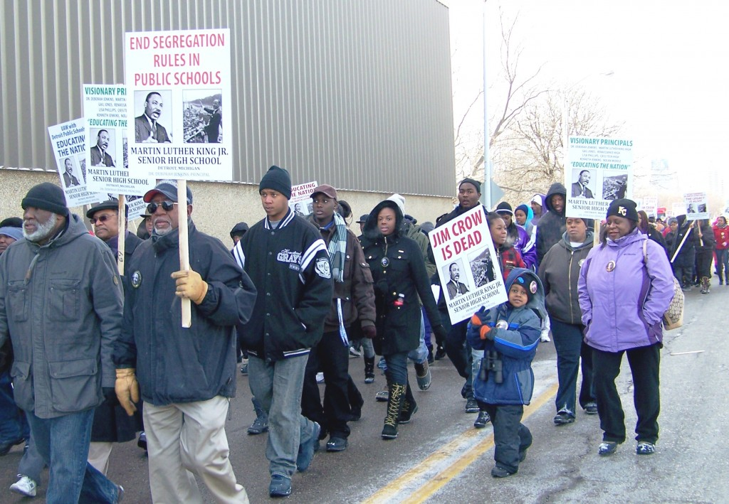 2011 MLK Day march in Detroit at Dr. Martin Luther King, Jr. High School: Detroit Public Schools have been destroyed by state takeovers.