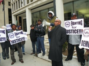 Rev. David Bullock of Rainbow PUSH calls on Pres. Obama and AG Holder to intervene to save Detroit outside-federal offices March 7 2013.