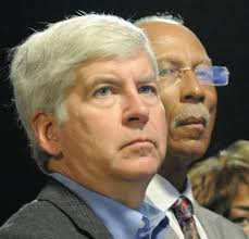 "Gov. Rick Snyder with Detroit Mayor Dave Bing, who said the two are ""joined at the hip.:"