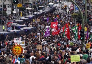 Millions protest bank-imposed austerity measures in Spain.