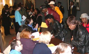 Detroit taxpayers lined up to get help at foreclosure hearing several years ago.l