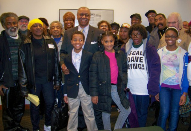 "Mayoral candidate Tom Barrow, with supporters including son in front, at Appeals Court hearing two years ago as he contested the election of Detroit Mayor Dave Bing. Nearly 60 percent of the ballots cast, including all absentee ballots, were deemed ""unrecountable"" by the Wayne Co. Board of Canvassers. Bing stole that election; now Michigan Gov. Rick Snyder is stealing Detroiters' right to elect their leaders, in the wake of Bing's collaboration with him and State Treasurer Andy Dillon."