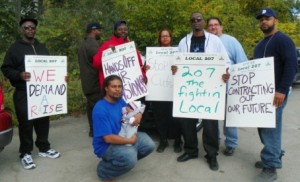 DWSD workers on strike at Wastewater Treatment Plant Sept. 30, 2012.
