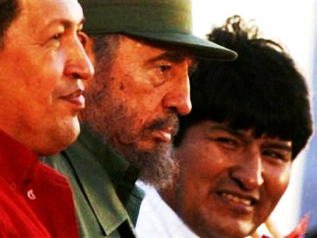 Latin American socialist leaders (l to r) Hugo Chavez of Venezuela, Fidel Castro of Cuba, and Evo Morales of Bolivia.