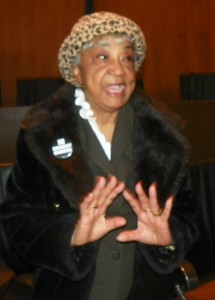 Helen Moore, leader of Keep the Vote No Takeover, at press conference against Detroit EM takeover, March 22, 2013