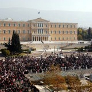 Protest in Athens at Parliament Building Feb. 20, 2013