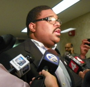Rev. Charles Williams II interviewed after City Council meeting April 16, 2013.